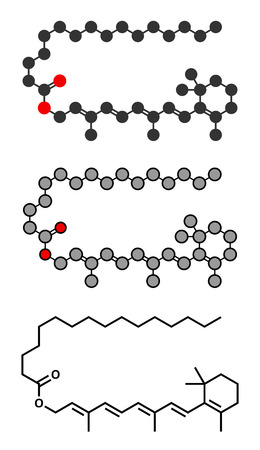 carcinogenic: Retinyl palmitate vitamin supplement molecule. Stylized 2D renderings and conventional skeletal formula. Ester of vitamin A (retinol) and palmitic acid. Illustration