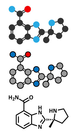 polymerase: Veliparib cancer drug molecule (PARP inhibitor). Stylized 2D renderings and conventional skeletal formula.