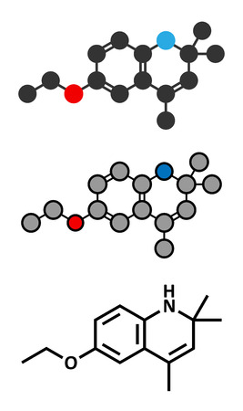 scald: Ethoxyquin antioxidant food preservative molecule. Stylized 2D renderings and conventional skeletal formula. Also used to control scald on pears. Illustration