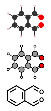 disinfectant: Phthalaldehyde (ortho-phthalaldehyde, OPA) disinfectant molecule. Stylized 2D renderings and conventional skeletal formula.