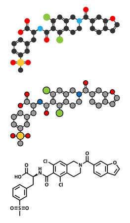 adhesion: Lifitegrast drug molecule. Stylized 2D renderings and conventional skeletal formula. Used in the treatment of keratoconjunctivitis sicca.