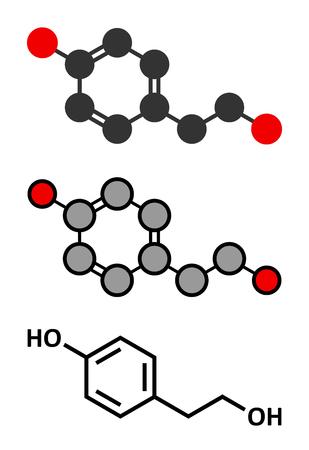 antioxidant: Tyrosol olive oil antioxidant molecule. Stylized 2D renderings and conventional skeletal formula. Illustration