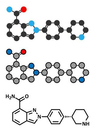 polymerase: Niraparib cancer drug molecule (PARP inhibitor). Stylized 2D renderings and conventional skeletal formula.