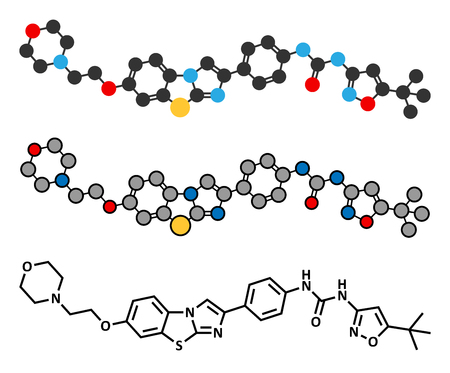 kinase: Quizartinib cancer drug molecule (kinase inhibitor). Stylized 2D renderings and conventional skeletal formula.