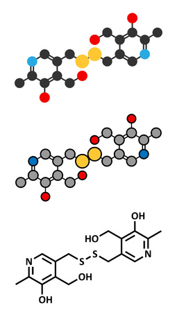 disulfide: Pyritinol (pyridoxine disulfide) cognitive and learning disorder drug molecule. Stylized 2D renderings and conventional skeletal formula. Also used in nootropic dietary supplements. Illustration