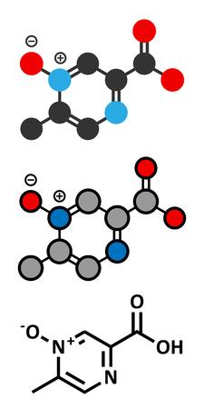 Acipimox hypertriglyceridemia drug molecule. Stylized 2D renderings and conventional skeletal formula. Illustration
