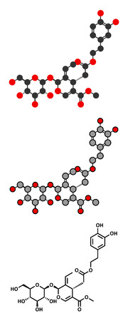 pungency: Oleuropein olive component molecule. Stylized 2D renderings and conventional skeletal formula. In part responsible for pungency of virgin olive oil, may have beneficial properties.