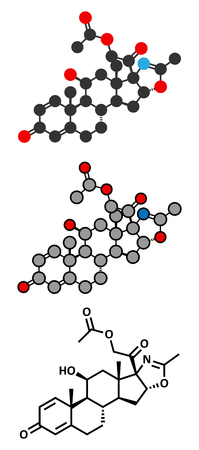 dystrophy: Deflazacort glucocorticoid drug molecule. Stylized 2D renderings and conventional skeletal formula.
