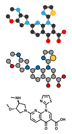 Vosaroxin cancer drug molecule. Stylized 2D renderings and conventional skeletal formula. Illustration