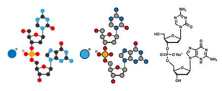 Guadecitabine cancer drug molecule (DNA methyltransferase inhibitor). Stylized 2D renderings and conventional skeletal formula.