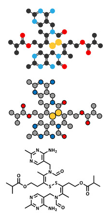 dimer: Sulbutiamine asthenia drug molecule. Stylized 2D renderings and conventional skeletal formula. Also used in nutritional supplements. Illustration