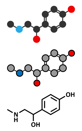 Synephrine herbal stimulant molecule. Stylized 2D renderings and conventional skeletal formula. Present in several Citrus species. Illustration