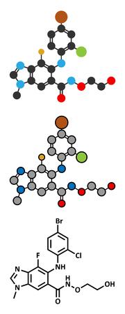 Selumetinib cancer drug molecule (MEK1 and MEK2 inhibitor). Stylized 2D renderings and conventional skeletal formula.