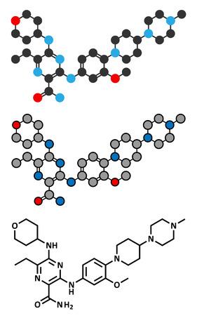 kinase: Gilteritinib cancer drug molecule (kinase inhibitor). Stylized 2D renderings and conventional skeletal formula.