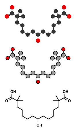 Bempedoic 酸高コレステロール血症の薬物の分子 (ATP クエン酸リアーゼ阻害剤)。様式化された 2D レンダリングと従来の骨格式。