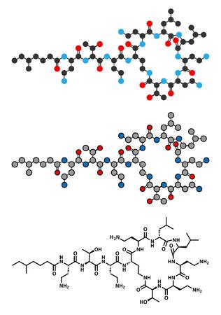 antibiotic: Colistin antibiotic drug molecule. Stylized 2D renderings and conventional skeletal formula. Illustration