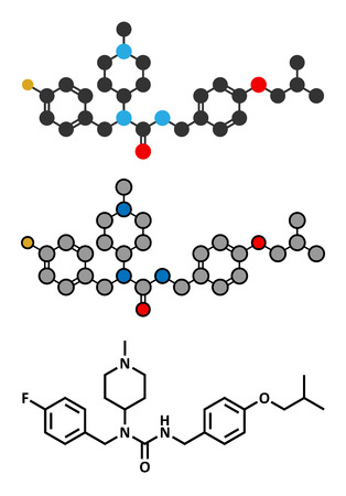atypical: Pimavanserin atypical antipsychotic drug molecule. Stylized 2D renderings and conventional skeletal formula. Illustration