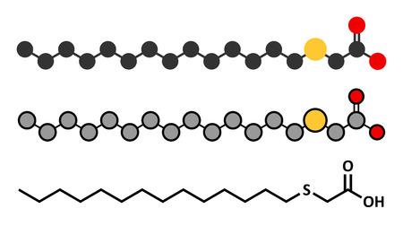 Tetradecylthioacetic acid (TTA) synthetic fatty acid molecule. Stylized 2D renderings and conventional skeletal formula. Vektorové ilustrace
