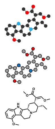 alkaloid: Mitragynine molecule. Stylized 2D renderings and conventional skeletal formula. Herbal alkaloid present in kratom (ketum, Mitragyna speciosa). Illustration