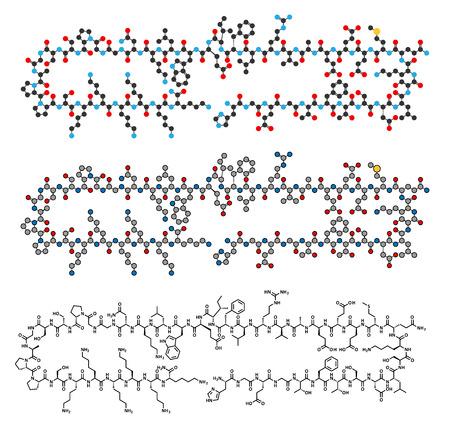 Lixisenatide diabetes drug molecule. Stylized 2D renderings and conventional skeletal formula.
