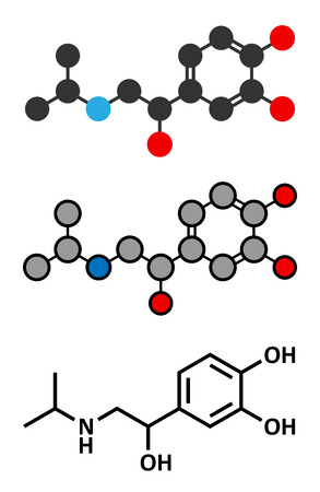 compound: Isoprenaline (isoproterenol) drug molecule. Stylized 2D renderings and conventional skeletal formula. Used in treatment of bradycardia, heart block and asthma. Illustration