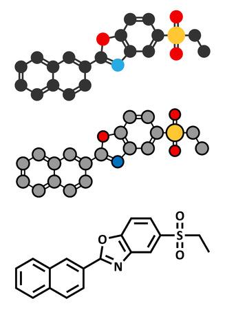 dystrophy: Ezutromid Duchene muscular dystrophy drug molecule. Stylized 2D renderings and conventional skeletal formula. Activator of utrophin.