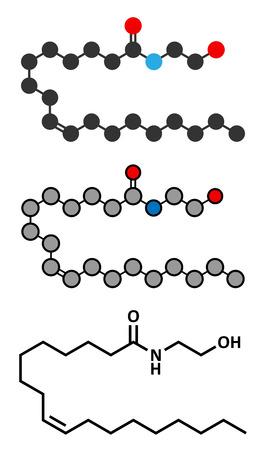 endogenous: Oleoylethanolamide (OEA) endogenous peroxisome proliferator-activated receptor alpha (PPAR-?) agonist molecule. Stylized 2D renderings and conventional skeletal formula.