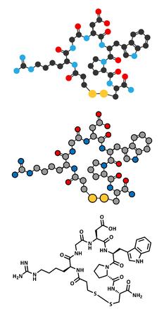 anticoagulant: Eptifibatide anticoagulant drug molecule. Stylized 2D renderings and conventional skeletal formula. Illustration