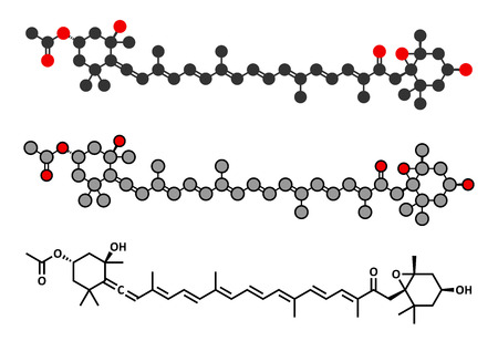 supplementation: Fucoxanthin brown algae pigment molecule. Stylized 2D renderings and conventional skeletal formula. Ingredient of some dietary supplements.