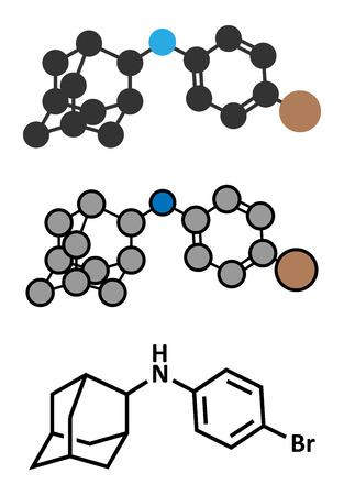 adaptogen: Bromantane asthenia drug molecule. Stylized 2D renderings and conventional skeletal formula. Also used in sports doping.