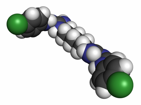 bactericidal: Chlorhexidine antiseptic molecule, 3D rendering. Atoms are represented as spheres with conventional color coding: hydrogen (white), carbon (grey), nitrogen (blue), chlorine (green). Stock Photo