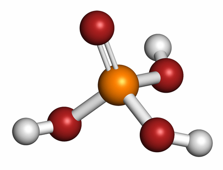 Phosphoric acid mineral acid molecule, 3D rendering. Used in fertilizer production, biological buffers, as food additive, etc. Atoms are represented as spheres with conventional color coding: hydrogen (white), oxygen (red), phosphorus (orange).