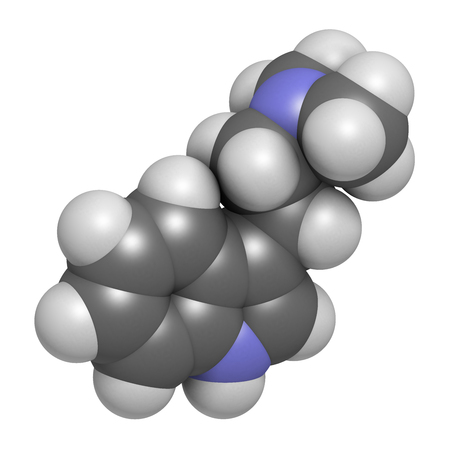 shamanic: Dimethyltryptamine (DMT) psychedelic drug molecule, 3D rendering. Present in the drink ayahuasca. Atoms are represented as spheres with conventional color coding: hydrogen (white), carbon (grey), nitrogen (blue). Stock Photo