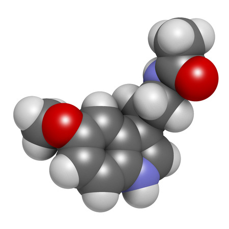 Melatonin hormone molecule, 3D rendering. In humans, it plays a role in circadian rhythm synchronization. Atoms are represented as spheres with conventional color coding: hydrogen (white), carbon (grey), oxygen (red), nitrogen (blue).
