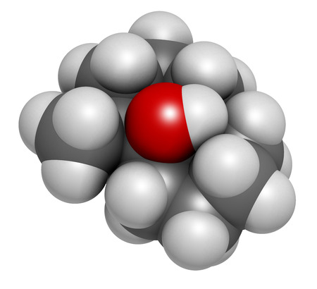 Geosmin earthy flavor molecule, 3D rendering. Responsible for the typical taste of beetroot. Atoms are represented as spheres with conventional color coding: hydrogen (white), carbon (grey), oxygen (red). Stock Photo