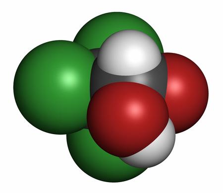 Chloral Hydrat Beruhigungsmittel und hypnotischen Medikament Molekül, 3D-Rendering. Atome werden als Sphären mit konventioneller Farbkodierung dargestellt: Wasserstoff (weiß), Kohlenstoff (grau), Sauerstoff (rot), Chlor (grün).