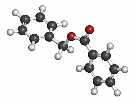 benzoic: Benzyl benzoate drug molecule, 3D rendering. Used as acaricide, scabicide, etc.  Atoms are represented as spheres with conventional color coding: hydrogen (white), carbon (grey), oxygen (red). Stock Photo