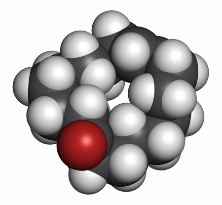 Civetone civet cat pheromone molecule, 3D rendering. Used in perfume. Atoms are represented as spheres with conventional color coding: hydrogen (white), carbon (grey), oxygen (red).