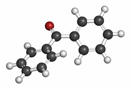 Benzophenone molecule, 3D rendering. Atoms are represented as spheres with conventional color coding: hydrogen (white), carbon (grey), oxygen (red). Stock Photo