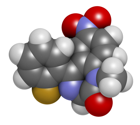 Flunitrazepam hypnotic drug molecule, 3D rendering. Atoms are represented as spheres with conventional color coding: hydrogen (white), carbon (grey), oxygen (red), nitrogen (blue), fluorine (gold).