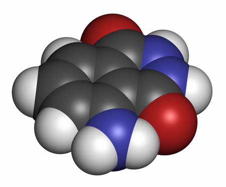 Luminol chemiluminescent molecule, 3D rendering. Used to detect blood at crime scenes. Atoms are represented as spheres with conventional color coding: hydrogen (white), carbon (grey), oxygen (red), nitrogen (blue).