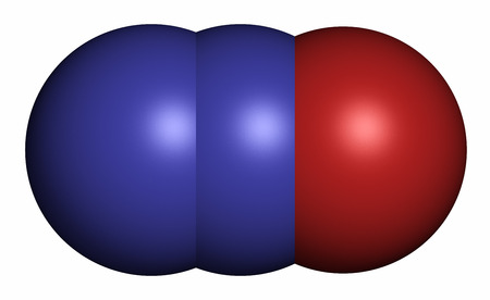Nitrous oxide (NOS, laughing gas, N2O) molecule, 3D rendering. Used in surgery as analgesic and anesthetic drug, and also as oxidizer in rocket motors and combustion engines. Atoms are represented as spheres with conventional color coding: nitrogen (blue) Imagens