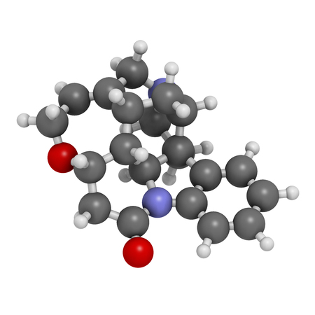 Strychnine poisonous alkaloid molecule, 3D rendering. Isolated from Strychnos nux-vomica tree. Atoms are represented as spheres with conventional color coding: hydrogen (white), carbon (grey), oxygen (red), nitrogen (blue).