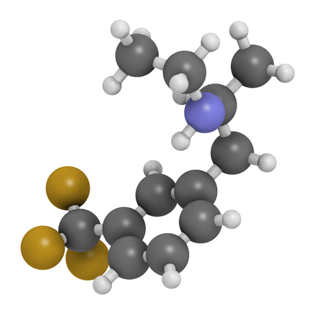 3d nitrogen: Fenfluramine weight loss drug molecule, 3D rendering (withdrawn). Atoms are represented as spheres with conventional color coding: hydrogen (white), oxygen (red), nitrogen (blue), fluorine (gold). Stock Photo