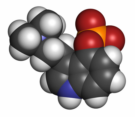 vegetable carbon: Psilocybin psychedelic mushroom molecule, 3D rendering. Prodrug of psilocin. Atoms are represented as spheres with conventional color coding: hydrogen (white), carbon (grey), oxygen (red), nitrogen (blue), phosphorus (orange). Stock Photo