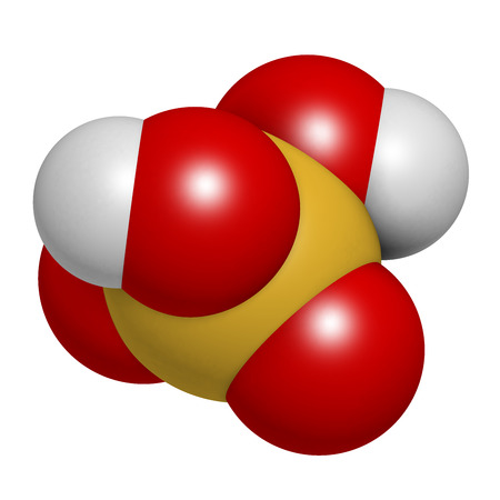 Sulfuric acid (H2SO4) strong mineral acid molecule, 3D rendering. Atoms are represented as spheres with conventional color coding: hydrogen (white), oxygen (red), sulfur (yellow).