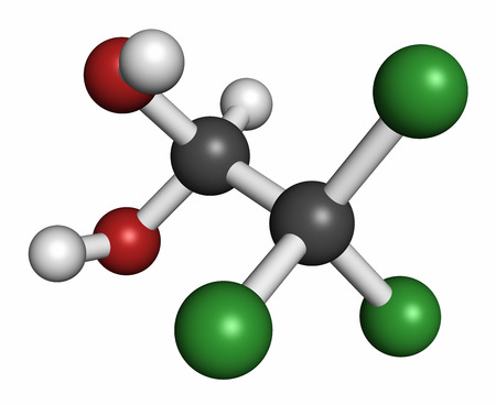 Chloral hydrate sedative and hypnotic drug molecule, 3D rendering. Atoms are represented as spheres with conventional color coding: hydrogen (white), carbon (grey), oxygen (red), chlorine (green). Stock Photo