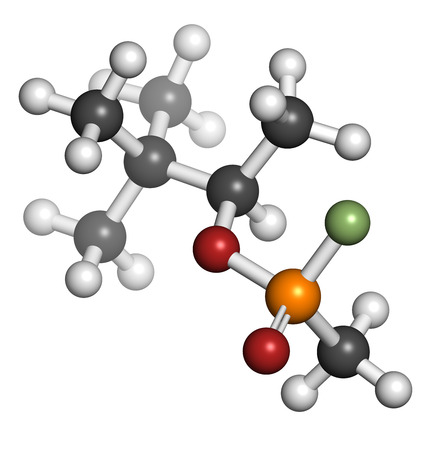 chemical warfare: Soman nerve agent molecule, 3D rendering (chemical weapon). Atoms are represented as spheres with conventional color coding: hydrogen (white), carbon (grey), oxygen (red), phosphorus (orange), fluorine (light green).