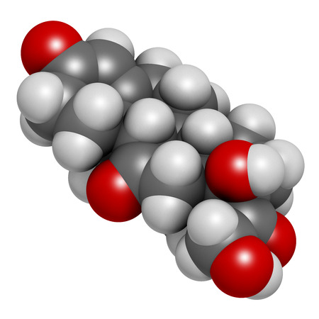 Cortisone stress hormone molecule, 3D rendering. Atoms are represented as spheres with conventional color coding: hydrogen (white), carbon (grey), oxygen (red). Stock Photo
