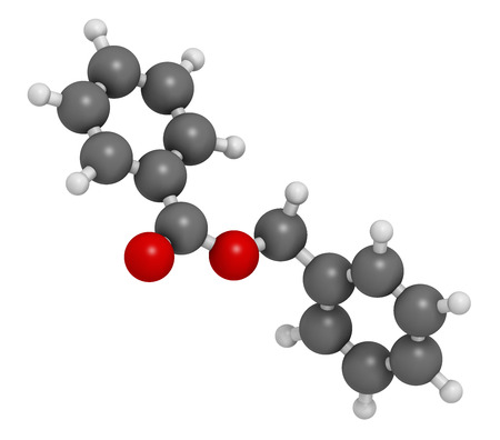 Benzyl benzoate drug molecule, 3D rendering. Used as acaricide, scabicide, etc.  Atoms are represented as spheres with conventional color coding: hydrogen (white), carbon (grey), oxygen (red). Imagens